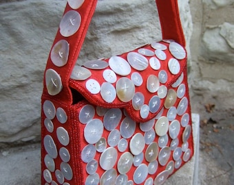 Mother of Pearl Button Covered Vintage Handbag