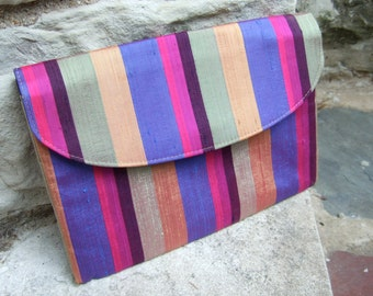 1970s Vibrant Striped Clutch Style Bag