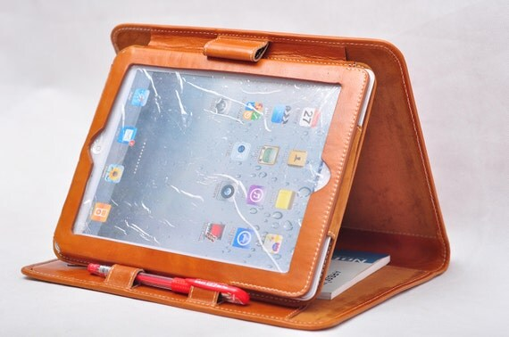 Item No: 5006 Top-level genuine leather simple briefcase and iPad case & iPad stands for iPad1,iPad2,iPad3 in waxed brown