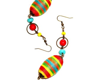 SALE/CLEARANCE - Antique Brass and Multi-colored Wax-Cord Bead Dangles
