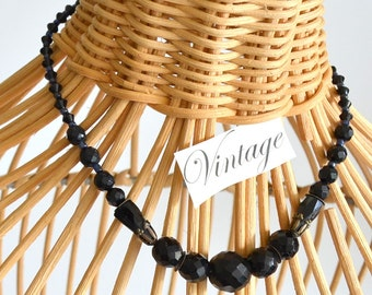 Vintage Victorian Jet Necklace Faceted Black Glass Beaded w/ small Blue beads. French Choker. A Chic Unique Gift! Bridal or Anytime.