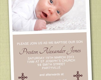 Photo Personalised Baptism/Christening Invitations - You Print