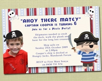 Pirate Birthday Invitations with Photo - You Print