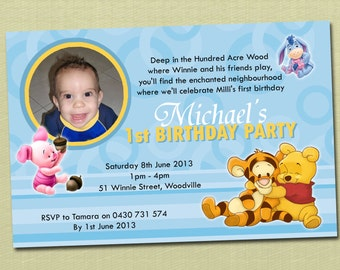 Photo Personalised Winnie The Pooh Birthday Invitations - You Print