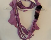 Lilac Leather and Fur Scarf Necklace