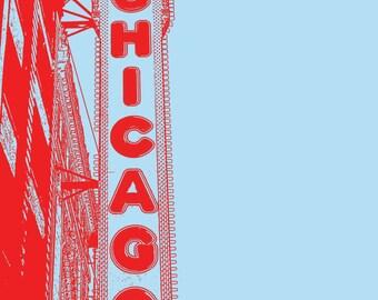 8x10 Chicago Theatre Sign Print - Chicago Landmark