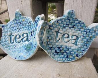 Two Blue Teapot Tea Bag Ceramic Holders Handmade Gift