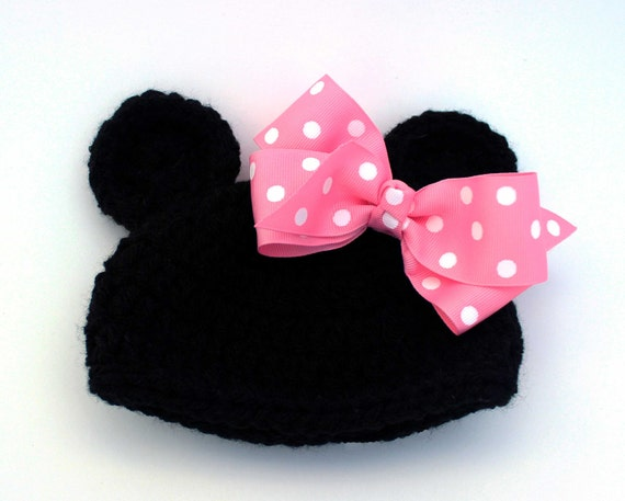 Items similar to Minnie Mouse Hat Cap Newborn Girl - Knitted / Crochet - Phot...