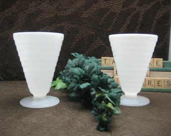 Vintage set of two Milk Glass cups