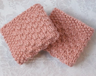 Luxury Organic Cotton Wash Cloth Collection - Set of Two Luxurious Hand Knit Face / Wash / Spa Cloths in Dusty Rose for the Ultimate Bath