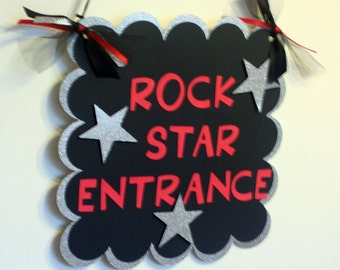 Rock Star or All Star Door Welcome Sign,  Black and Red and silver, Rock Star Birthday, All Star birthday, First Birthday