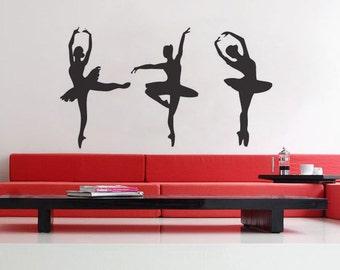 Three Ballerinas - uBer Decals Wall Decal Vinyl Decor Art Sticker Removable Mural Modern A216