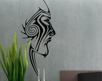 Tribal Face - uBer Decals Wall Decal Vinyl Decor Art Sticker Removable Mural Modern A302