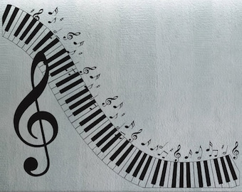 Piano Keyboard  - Wall Decal Vinyl Decor Art Sticker Removable Mural Modern A393