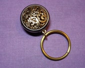 """Eyeglass/Sunglass holder, magnetic """"brooch"""" style, Gold Filigree Button Brooch with Gold Ring"""