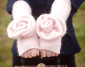 Think Pink: angora arm/wrist warmers, long, felted, fingerless gloves, free USA shipping through April,rose adorned up-cycled, handmade