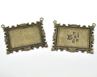 Antique bronze Rectangle Cabochon Setting Connector