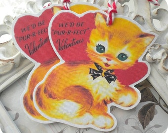 We're Purrfect Cat Valentine Gift Tags (6) Valentine Treat Tag-Valentine Favor Tag-Cat Gift Tag-Classroom Valentine-Valentines for Kids