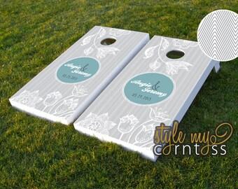 Custom Cornhole Boards - Chevron & Florals w/ Monogram - Custom Wedding Game