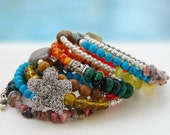 Boho chic...Memory wire bracelet... Hot stuff, 8 rounds memory wire bracelet  Original OceanBead style.