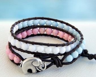 Pastel... Leather wrap bracelet... Beaded Double Wrap Bracelet. Original OceanBead Style.