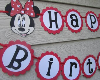 Minnie Mouse Red or Hot Pink Polka Dot Happy Birthday Party Banner Garland Can be Personalized With Name or Color Choice