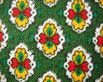 Vintage Provencal (French) cotton fabric - green, red and yellow traditional design