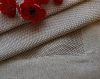 """SALE Linen Tablecloth 58.5""""x58.5"""" Natural Grey With Pattern and Decorative Linen Margin"""