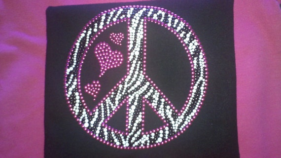 Rhinestud Peace and Love  heart pink zebra print Toddler T-Shirt sparkly bling