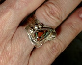 Reserved for Debbie Boulder Opal Sterling Silver Ring with Etched Copper and Peace Sign