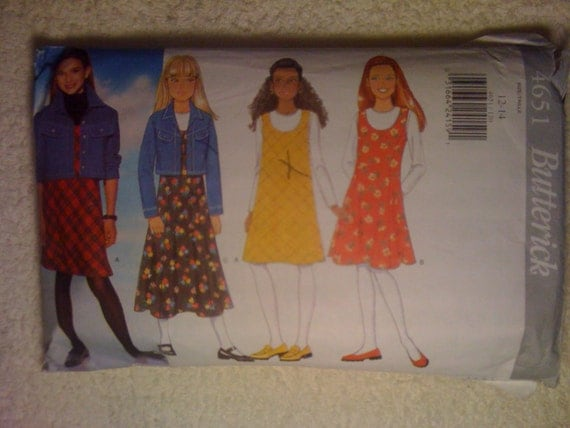 Butterick 90s Sewing Pattern 4651 Girls Jacket and Jumper Size 12-14 Sale
