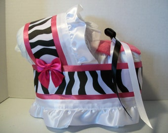Hot pink black and white zebra print girl diaper bassinet baby shower gift table decoration centerpiece