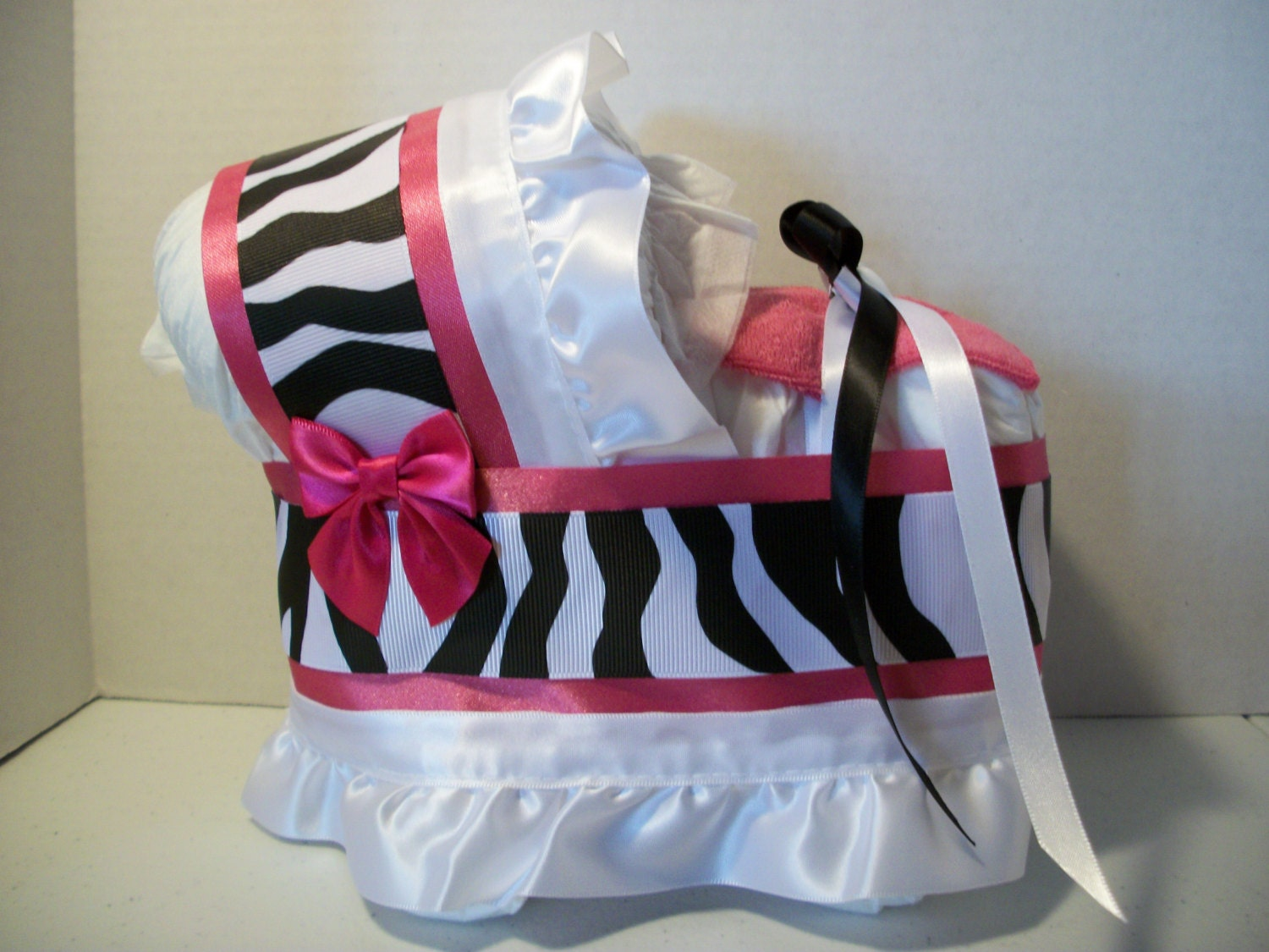 Hot Pink Black And White Zebra Print Girl Diaper Bassinet Baby