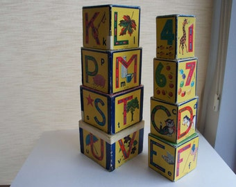 Vintage Children's Stacking Alphabet Blocks