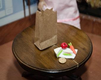 Kit's 1930's  lunch Accessories for American Girl Doll Mini, Barbie, BJD Bag, sandwich, oatmeal raisin cookie, carrot, apple