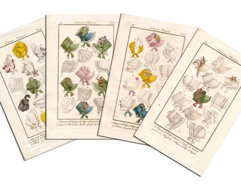 Regency Fashion Plate Bonnet Notecards- Flat, 5x7, with matching Envelopes, Set of 4