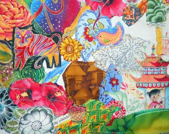Islands of Life, Fiber Art Collage, Sewn Art, Wall Art, Linen Collage, Sewn Art, Home Decor, Kathleen Leasure, FromGlenToGlen