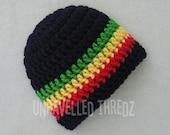 Rasta Baby Beanie Hat- Black Rastafarian Newborn Infant Toddler