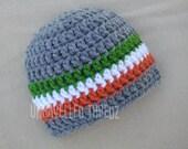 Crochet Baby Hat- Irish Flag Colors, St. Patrick's Day Baby Newborn Hat