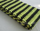 Scarf- Lime Green and Black Striped Mens, Womens, Teens