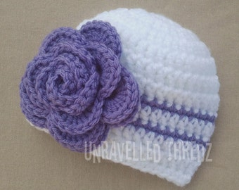 Crochet Newborn Hat with Flower- White Baby Hat Purple Rose