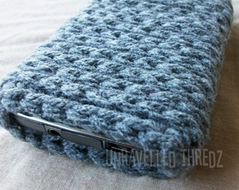 Gray Phone Sock Cozy- Iphone, Galaxy, HTC, Cell Phone Pouch, Tech Stocking Stuffer