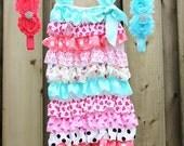 Ruffles Petti Romper with Double Shabby Chic Rhinestone Crystal Headband and Romper set Baby Shower gift Weddings Photo prop