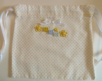Gift Bag Reusable YELLOW polka dots 1-2-3 RABBIT charms Use to wrap a gift then it bcomes perfect storage for diapers or quick trip stuff