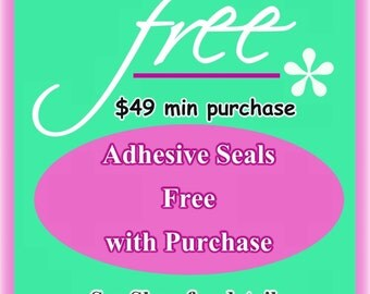 10 Adhesive Photo Safe Clear Seals Free with 49 Dollar Purchase - Pick Size, Shape. Please read listing. Alternative to glazes and glues.