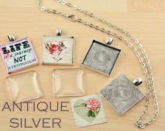 10 Blank 1 inch Pendant Trays  -  SQUARE Antique Silver Bezels Settings 25 mm Photos Charms -Antique Finishes Can Vary