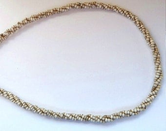 """18"""" Cream and Sand Glass Seed Bead Twisted Necklace Chain"""