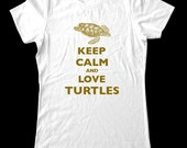Keep Calm and Love Turtles  T-Shirt - Soft Cotton T Shirts for Women, Men/Unisex, Kids