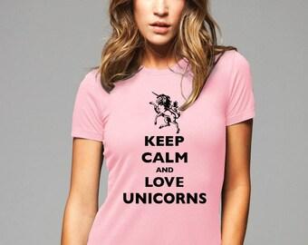 Keep Calm and Love Unicorns T-Shirt - Soft Cotton T Shirts for Women, Men/Unisex, Kids