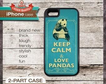 Keep Calm & Love Pandas - iPhone 6, 6+, 5 5S, 5C, 4 4S, Samsung Galaxy S3, S4